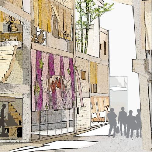 彩る道-記憶の枠と布の商住街